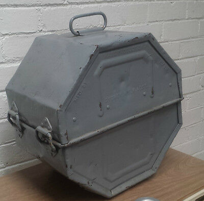 vintage industrial STEEL film reel canister/container/case/trunk metal SYDNEY