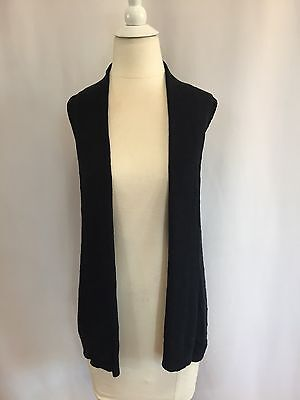 Black Knit Sleeveless Vest Open Front MOSSIMO 100% Cotton Sz XS