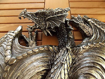 45Cm Black/silver Dragon Protector Wall Art Statue - New In Box - Fantasy/gothic