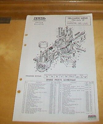 Hillman Minx 1936-Early 1937 Zenith 26Vf Carburetter Spare Parts Technical Notes