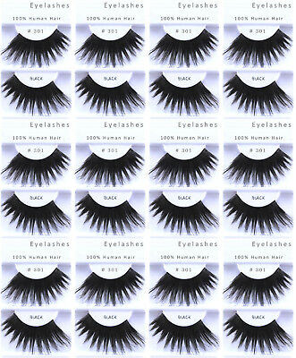 12pr / 1 DZ - #301 LONG BLACK FALSE SHOWGIRL EYELASHES/LASHES/COSTUME/DRAG QUEEN