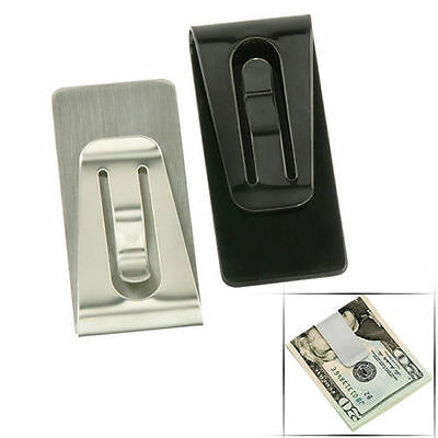 UK Top Stainless Steel Slim Money Wallet Clip Card Credit Business Card Holder