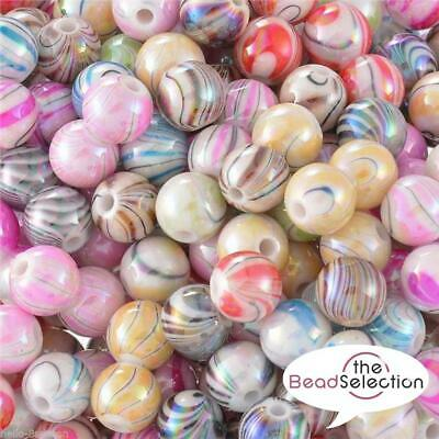 GREEN CANDY SWIRL ROUND ACRYLIC BEADS 10mm 50 Per Bag TOP QUALITY ACR108