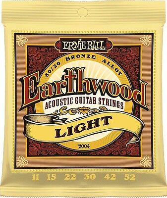 Earthwood 2004 Ernie Ball Acoustic Guitar Strings String Set 11-52 Light
