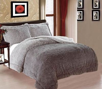 3 PIECE QUEEN THICK Luxurious Faux Fur Soft warm sherpa bed GRAY Blanket SHADES