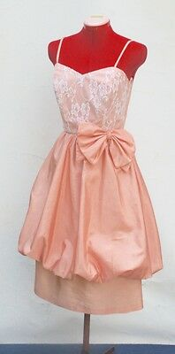 VINTAGE 1980's FORMAL COCKTAIL Dress, Pale Apricot Taffeta, Balloon Skirt 8-10