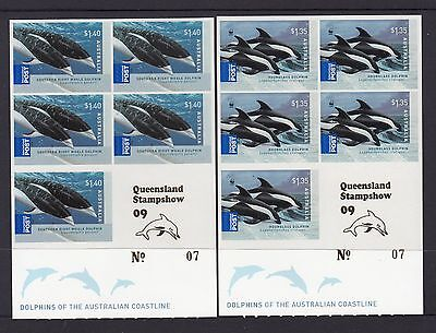 "2009 Dolphins Booklets set 2 Overprinted ""QUEENSLAND STAMPSHOW"" MUH.Scarce item"