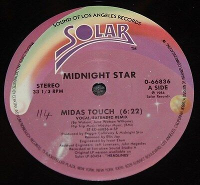 "MIDNIGHT STAR * MIDAS TOUCH (REMIX) * Classic Soul Funk Boogie 12"" Vinyl"