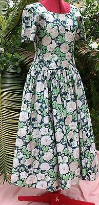 VINTAGE FORMAL 1980's HIGH TEA FLORAL, ANNIE LANTZ design, COTTON PARTY 12-14
