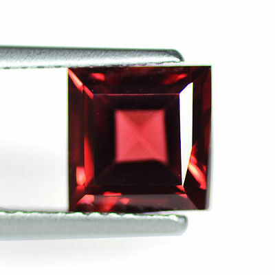 2.08 cts Natural Mozambique Mined Pyrope Red Garnet Loose Gems Square Cut 7 mm