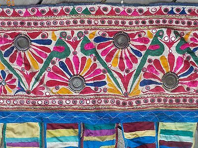 Vintage Indian wall hanging - unique tribal embroidery and mirrorwork