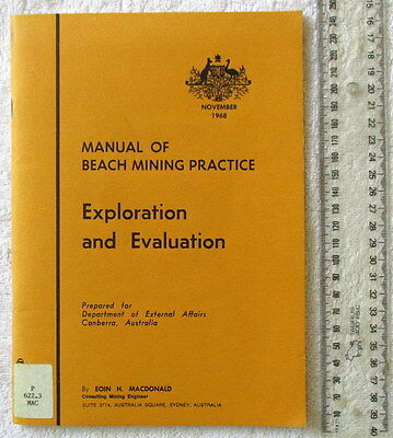 MANUAL OF BEACH MINING PRACTICE Exploration and Evaluation 1stEdn 1968 MACDONALD
