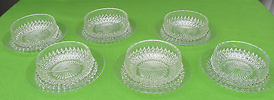 Vintage Crystal Diamond Cut Sweet Bowls with Plates -- set of 6