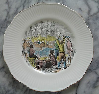 Older Rosina Queens Centenary Year Plate - The Boston Tea Party