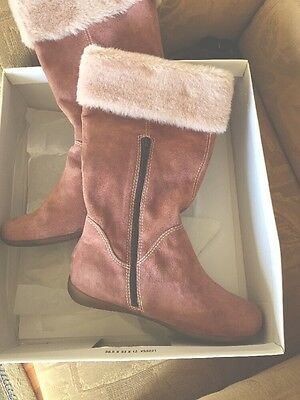Salmon Pink Suede Boots Size 5.5 From Clarks Side Zip
