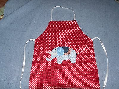 Girls Apron with Applique Elephant(Hand Made)2 to 4 years Double layer of fabric