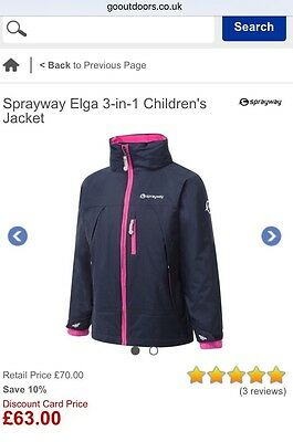 Girls Sprayway Elga 3-in-1 Waterproof Winter Coat Jacket Navy/pink 8-9 RRP £70