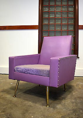 Midcentury Italian Modernist Armchair With Brass Legs Pair 2Of2 Vintage 50S