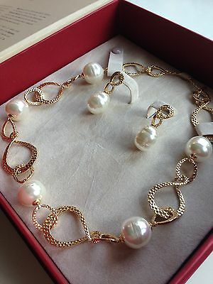 Majorica Large Pearl Necklace and Earrings ( with certificate of authenticity)