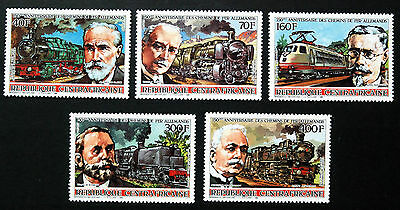 Trains, Central African Republic 1986 Issue, UMMint Stamps.