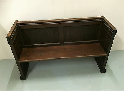 Victorian Gothic Church Pew /bench, Small, Pitch Pine, Antique C1880.
