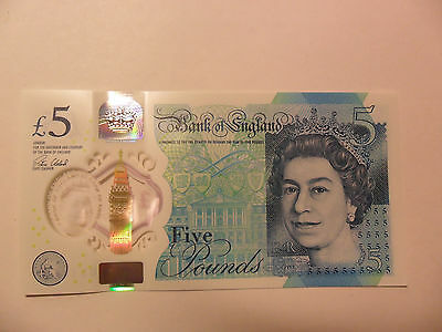 New Polymer BRITISH £5  Banknote