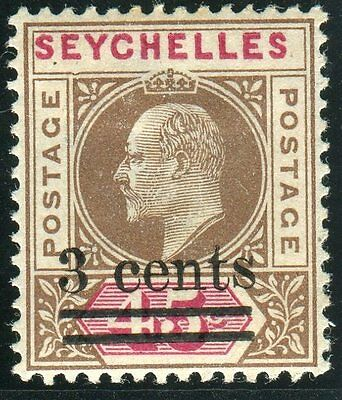 SEYCHELLES-1903 3c on 45c Brown & Carmine DENTED FRAME fine mounted mint Sg 59a