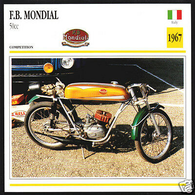 1967 F.B. Mondial 50cc FB Italy Race Motorcycle Photo Spec Sheet Info Stat Card