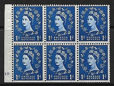 SB42 1d Wilding Booklet pane Cyl F10 No Dot UNMOUNTED MINT