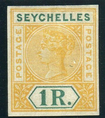SEYCHELLES-1890-1900 1r Yellow Green.  A fine mounted mint 4 margin example