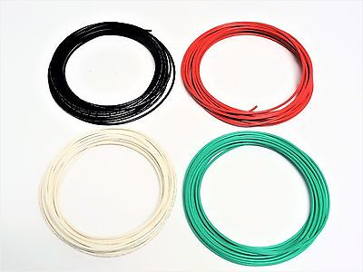 16 Gauge Wire White Green Red Black  Primary Awg Stranded Copper Power 25' Ft Ea