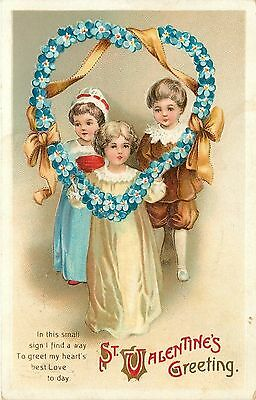 Ellen H Clapsaddle~Valentine Children Lift Up Blue Forget-Me-Not Heart~Emb~IAPC