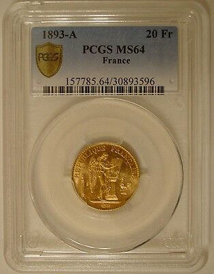 PCGS MS64 1893 Gold 20 Franc French Angel - Exceptional Color and Reflectivity!