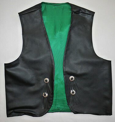 RARE 70's VINTAGE BLACK FAUX LEATHER WESTERN SHERIFF COWBOY STYLE WAISTCOAT M