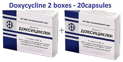 Doxycycline 20capsules in 2 boxes / 100mg