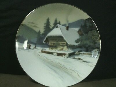 "Antique Villeroy & Boch Mettlach Hand Paint Ceramic""Winter Chalet""Plate,Germany"
