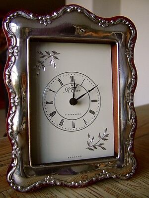 Hm1993 Carr's Of Sheffield Solid Silver Mantle Clock Quartz Working Wood Case