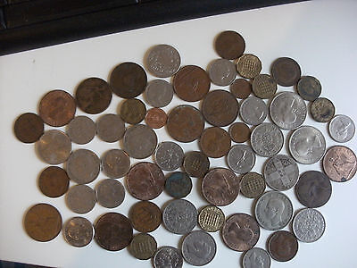 Small Collection of 60 Various Old Coins, Mainly UK Pre Decimal