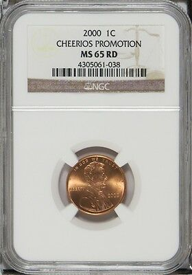 2000 1c Lincoln Cent Cheerios Promotion NGC MS 65 RD