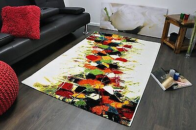 Small - Large Artistic Multi Colour Modern Squares Soft Thick Area Rugs Carpet