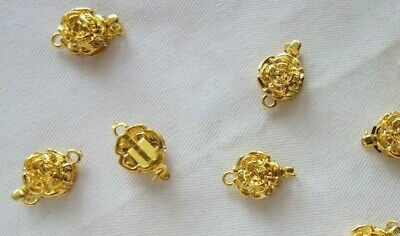 5 Gold Coloured Floral 1-1 Box Clasps 11mmx17mmx6mm #3597 Jewellery Findings