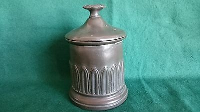 Antique Pewter Tobacco Jar With The Name J Bampton