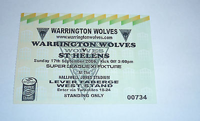 WARRINGTON WOLVES v St HELENS 4th MARCH 2005, WEST STAND TICKET