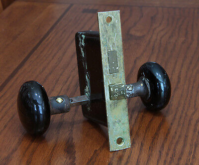 Antique Black Mineral/Porcelain Door Knobs with Mortise Lock. Hardware