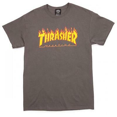 Thrasher Flame (Small) T-Shirt Charcoal Skateboard