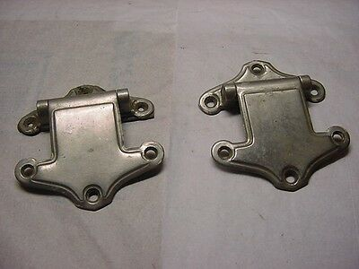 2 Antique Art Deco Chrome Ornate Hinges Ice Box Door Matching