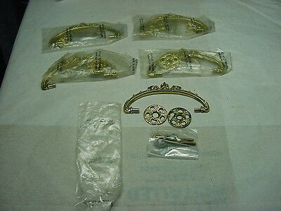 5 Complete Vintage Antique Victorian  Repro Brass Drawer Pulls