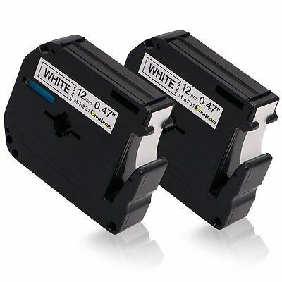 2PK Compatible for Brother P-touch Labels M-K231 MK231 Black on White Tape PT65