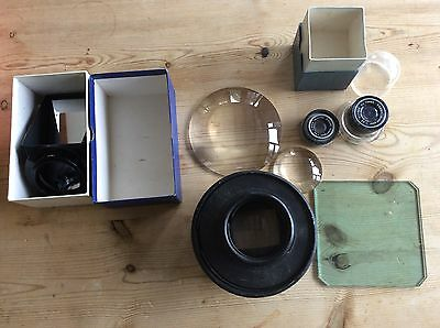Collection of vintage photography lenses etc