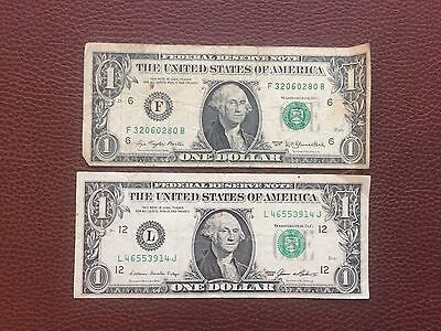 USA 1985 L & 1977 F One Dollar Banknotes